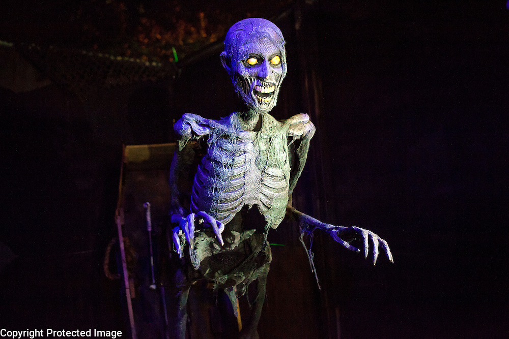 """A pneumatically operated skeleton that jumps out at one is part of Chris Baker's haunted yard display in South Yarmouth, MA. Every year Baker sets up an elaborate Halloween display in his yard and on Halloween, neighborohood residents walk through his frightening """"vortex"""" of horror while trick or treating."""