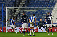 Huddersfield Town forward Fraizer Campbell (22) misses the penalty during the EFL Sky Bet Championship match between Huddersfield Town and Millwall at the John Smiths Stadium, Huddersfield, England on 20 January 2021.