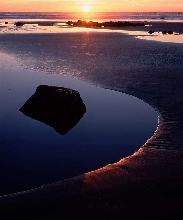 Tidepool at sunset, summer, Pacific Coast, Second Beach, Olympic National Park, Washington, USA