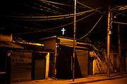 Orthodox cross in an old neighborhood of Tirana