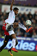 Wayne Routledge of Swansea city in action.    EFL Carabao Cup 4th round match, Swansea city v Manchester Utd at the Liberty Stadium in Swansea, South Wales on Tuesday 24th October 2017.<br /> pic by  Andrew Orchard, Andrew Orchard sports photography.