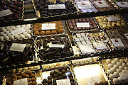 Chocolate is on sale inside a shop on Helmsley's town square, Yorkshire, England, United Kingdom.