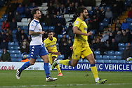 AFC Wimbledon striker Lyle Taylor (33) scores a goal 2-1 and celebrates during the The Emirates FA Cup 1st Round match between Bury and AFC Wimbledon at the JD Stadium, Bury, England on 5 November 2016. Photo by Stuart Butcher.