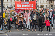 Bandages and bloodied the march sets off down Whitehall - The March of the Mummies organised by Pregnant then Screwed to highlight discrimination in the workplace against women who have children.