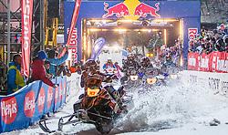 07.12.2014, Saalbach Hinterglemm, AUT, Snow Mobile, im Bild Start Snowmobile Feature // during the Snow Mobile Event at Saalbach Hinterglemm, Austria on 2014/12/07. EXPA Pictures © 2014, PhotoCredit: EXPA/ JFK