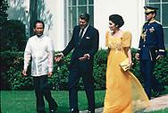 Ferdinand and  Imelda Marcos visit the White House, 16 September 1982<br /><br />Photograph by Dennos Brack  bb77