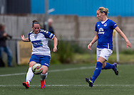 Jordon Atkinson (Durham Womens FC) passes the ball watched by Lindsay Johnson (Everton Ladies) during the FA Women's Super League match between Durham Women FC and Everton Ladies at New Ferens Park, Belmont, United Kingdom on 30 August 2015. Photo by George Ledger.