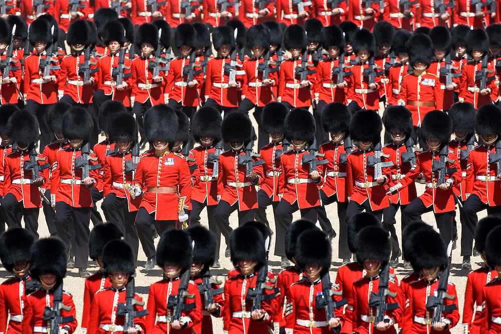 Trooping the Colour parade soldiers with SLR rifles London, United Kingdom.