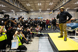 Shinya Kimura addresses the crowd from the stage at the start of the 27th Annual Mooneyes Yokohama Hot Rod Custom Show 2018. Yokohama, Japan. Sunday, December 2, 2018. Photography ©2018 Michael Lichter.