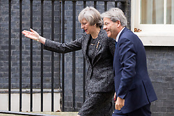 © Licensed to London News Pictures. 09/02/2017. London, UK. British Prime Minister Theresa May meets Italian Prime Minister Paolo Gentiloni in Downing Street today. Photo credit : Tom Nicholson/LNP