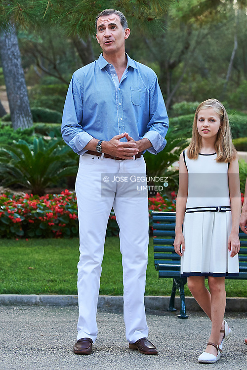King Felipe VI of Spain, Crown Princess Leonor pose for the photographers at the Marivent Palace on August 4, 2016 in Palma de Mallorca, Spain.