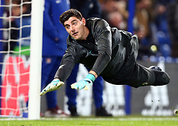 December 5, 2017 - London, England, United Kingdom - Chelsea's Thibaut Courtois during the pre-match warm-up ..during the Champions  League Group C  match between Chelsea and Atlético Madrid at Stamford Bridge, London, England on 5 Dec   2017. (Credit Image: © Kieran Galvin/NurPhoto via ZUMA Press)