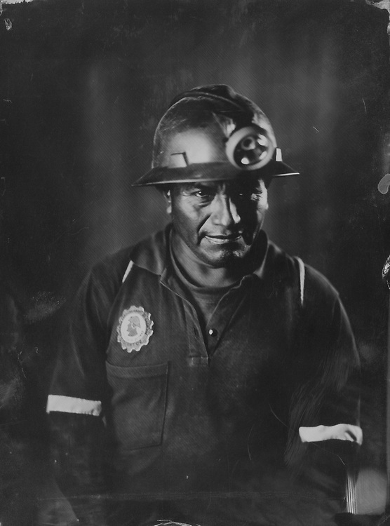 Juan Poma, miner and driller. Image taken at the SOTRAMI gold and silver mine in Santa Filomena, Ayacucho, Peru. The image is a scan from a tintype, made using the wetplate collodion process from 1851, and using silver mined at the SOTRAMI mine.