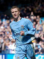 Photo. Glyn Thomas. <br /> Coventry City v Wolverhampton Wanderers.<br /> Coca Cola Championship. 16/04/2005.<br /> Coventry's Gary McSheffrey celebrates after scoring his team's equaliser.