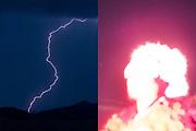 Un rayo cae en las montañas de Cusco junto a Emanuel  Condori que es iluminado por una luz artificial en el Santuario de Qoyllority. Él es danzante de Ukukus, que es la danza que representa al oso de anteojos, es el guardián de la montaña y protector de esta festividad. Cusco, 2019.