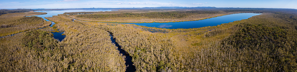 Panoramic aerial view of (r-l), Lake Como, the Upper Noosa River & Lake Cootharaba, Cooloola Recreation Area, Great Sandy National Park, Sunshine Coast, Queensland, Australia
