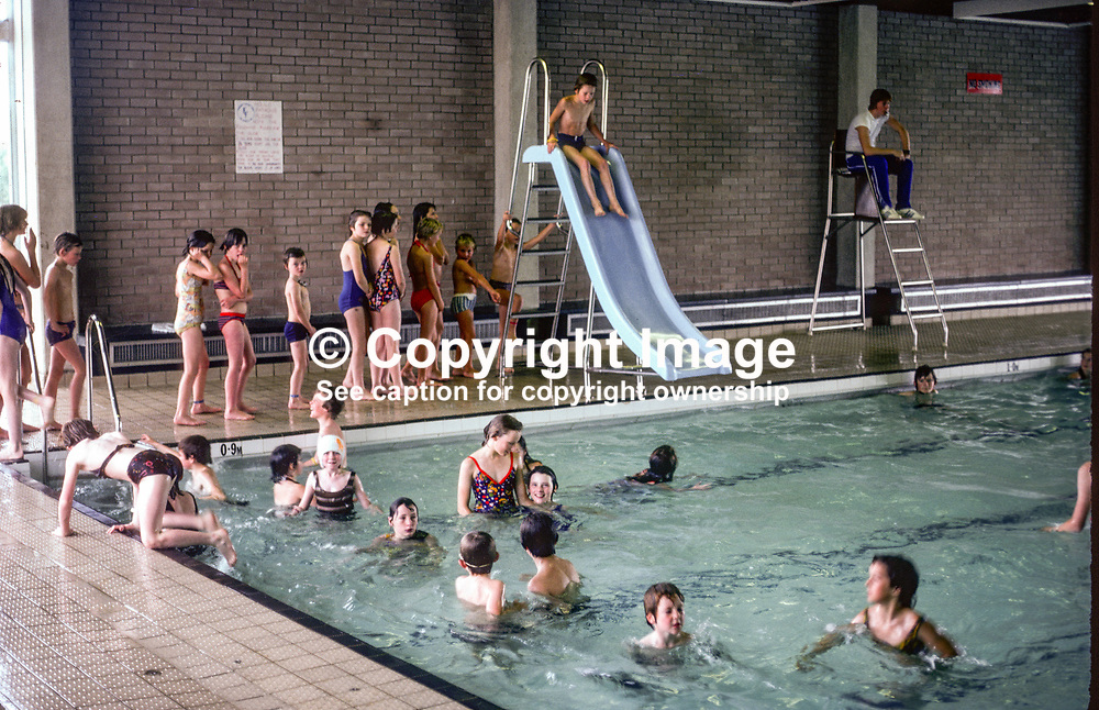 Youngsters have fun in the municipal swimming pool, Enniskillen, Co Fermanagh, N Ireland, UK, September, 1978, 197809000243<br /><br />Copyright Image from images4media.com (or the named photographer)