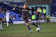Carlisle United's Brad Potts looks to get a shot off. Skybet football league 1 match, Tranmere Rovers v Carlisle United at Prenton Park in Birkenhead, England on Saturday 29th March 2014.<br /> pic by Chris Stading, Andrew Orchard sports photography.