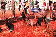 Israel, Negev, Eshkol Region, The tomato festival October 2005. Children in a tomato pool