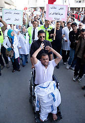 © under license to London News Pictures.  18/02/2011. Doctors and nurses protest against the Ministry of Health at Slamaniya Medical Complex in Manama, Bahrain. Photo credit should read Michael Graae/London News Pictures