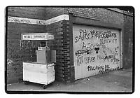 Man selling hamburgers near White Hart Lane, Tottenham Hotspur's stadium, London, 1982. South-East London, 1982