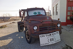 "The Tow Truck that inspired the Cars Film Character Mater. At the corner ""Four Women on the Route"" Front and S. Main Streets, Galena, KS on Old Historic US Route 66"