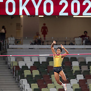 TOKYO, JAPAN August 3:  Bo Kanda Lita Baehre of Germany in action during the Pole Vault Final for Men at the Olympic Stadium during the Tokyo 2020 Summer Olympic Games on August 3rd, 2021 in Tokyo, Japan. (Photo by Tim Clayton/Corbis via Getty Images)