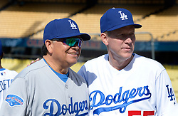 June 10, 2017 - Los Angeles, California, U.S. - Former Los Angeles Dodgers pitchers Fernando Valenzuela, left, with Orel Hershiser during the Old Timers game prior to a Major League baseball game between the Cincinnati Reds and the Los Angeles Dodgers at Dodger Stadium on Saturday, June 10, 2017 in Los Angeles. (Photo by Keith Birmingham, Pasadena Star-News/SCNG) (Credit Image: © San Gabriel Valley Tribune via ZUMA Wire)