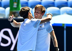 January 24, 2019 - Melbourne, Australia - Australian Open - Pierre Hugues Herbert Nicolas Mahut double - France (Credit Image: © Panoramic via ZUMA Press)