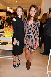 Left to right, KELLY EASTWOOD and ROSANNA FALCONER at the ;launch of the Conran Shop at Selfridge's, Oxford Street, London on 22nd September 2015.