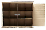 open corrugated carton box with subdivisions
