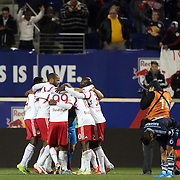 New York Red Bulls players celebrate their 2-1 victory at the final whistle after the New York Red Bulls V Sporting Kansas City, Major League Soccer Play Off Match at Red Bull Arena, Harrison, New Jersey. USA. 30th October 2014. Photo Tim Clayton