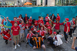© Licensed to London News Pictures.  07/07/2021. London, UK. Denmark football supporters arrive at Wembley Stadium, west London ahead of their EURO 2020 match against England this evening. Photo credit: Marcin Nowak/LNP