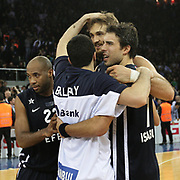 Anadolu Efes's players celebrate victory during their Turkish Airlines Euroleague Basketball Top 16 Game 7 match Anadolu Efes between Real Madrid at the Abdi ipekci Arena in Istanbul, Turkey, Thursday, February 14, 2013. Photo by TURKPIX
