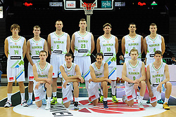 Team Slovenia, standing (L-R) Jaka Klobucar of Slovenia, Zoran Dragic of Slovenia, Uros Slokar of Slovenia, Alen Omic of Slovenia, Miha Zupan of Slovenia, Jure Balazic of Slovenia and Edo Muric of Slovenia, 1st line: Klemen Prepelic of Slovenia, Goran Dragic of Slovenia, Domen Lorbek of Slovenia, Jaka Blazic of Slovenia and Aleksej Nikolic of Slovenia during friendly match between National Teams of Slovenia and Greece before World Championship Spain 2014 on August 17, 2014 in Kaunas, Lithuania. Photo by Robertas Dackus / Sportida.com