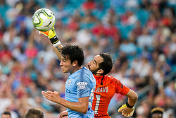 July 28, 2018 - Miami Gardens, FL, USA - Manchester City goalkeeper Claudio Bravo (1) clears a cross during action against Bayern Munich in an International Champions Cup match at Hard Rock Stadium in Miami Gardens, Fla., on Saturday, July 28, 2018. (Credit Image: © Sam Navarro/TNS via ZUMA Wire)