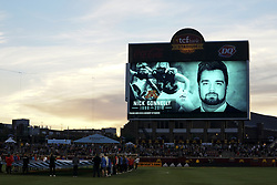 September 22, 2018 - Minneapolis, MN, USA - A moment of silence for former Minnesota football player Nick Connelly, who died from cancer earlier in the week, as Minnesota United plays host to the Portland Timbers on Saturday, Sept. 22, 2018, at TCF Bank Stadium in Minneapolis. (Credit Image: © Aaron Lavinsky/Minneapolis Star Tribune/TNS via ZUMA Wire)