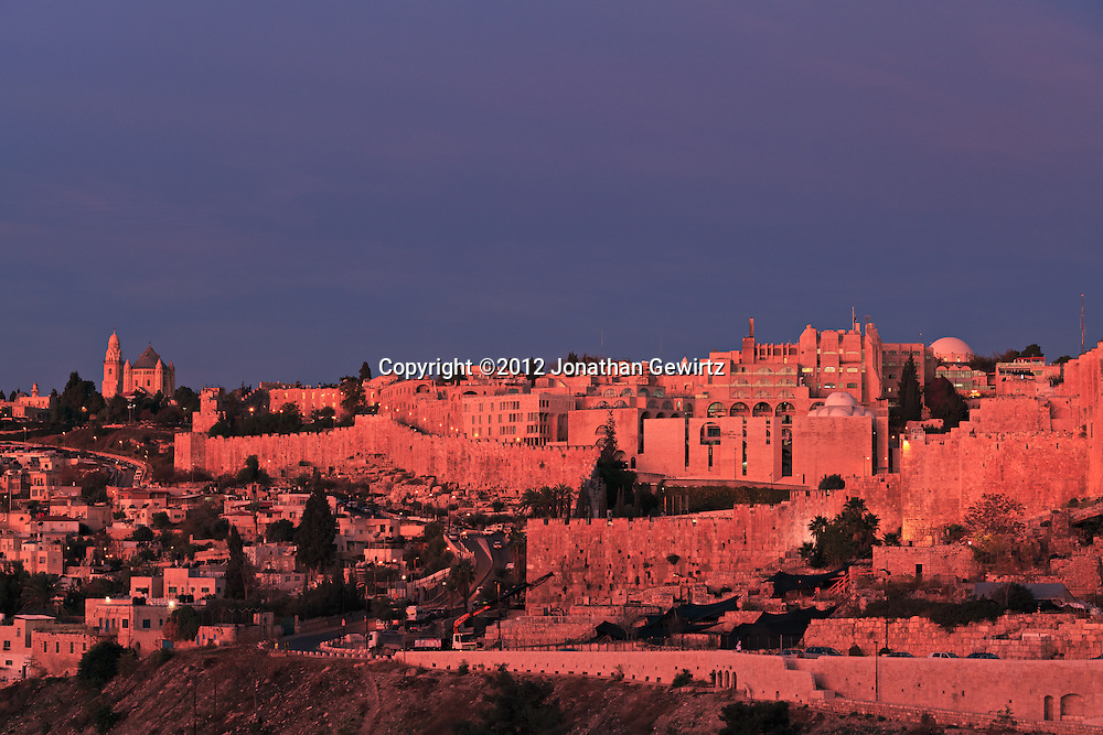 The Old City of Jerusalem's Jewish Quarter at Sunrise, viewed from the East from the Mount of Olives. WATERMARKS WILL NOT APPEAR ON PRINTS OR LICENSED IMAGES.