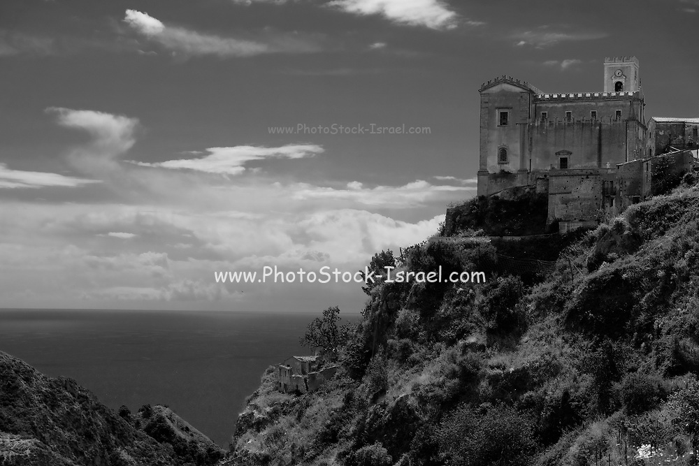 the medieval castle on top of Monte Tauro,  Taormina, Sicily, Italy