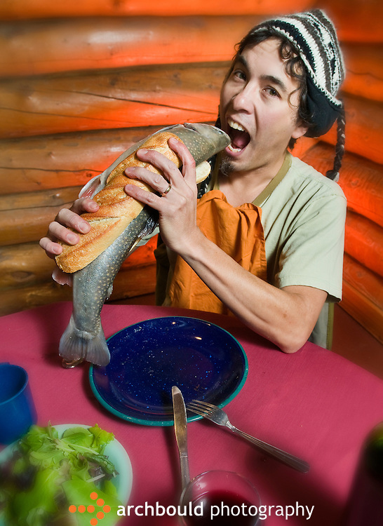 Photo illustration of a man eating a fish sandwich<br /> <br /> NOT IN YOUR BUDGET? Contact Cathie for a price specific to your project.