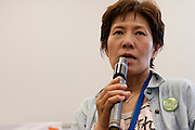 An anti nuclear activist speaking Member's Office Building of the House of Councillors in Tokyo, Japan. Friday June 29th 2012. About 400 protesters campaigned the restarting of the Oi nuclear power-station and the policy of Prime-Minister Noda to restart Japan's nuclear power generation programme which has been stalled since the earthquake and tsunami of March 11th 2011 caused meltdown and radiation leaks at the Fukushima Daichi Nuclear power-plant.