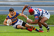 Auckland player Tumua Manu looses grip of Bay of Plenty's  Otere Black during the Mitre 10 Cup match played at Rotorua International Stadium in Rotorua on Friday 2nd October 2020.<br /> Copyright photo: Alan Gibson / www.photosport.nz