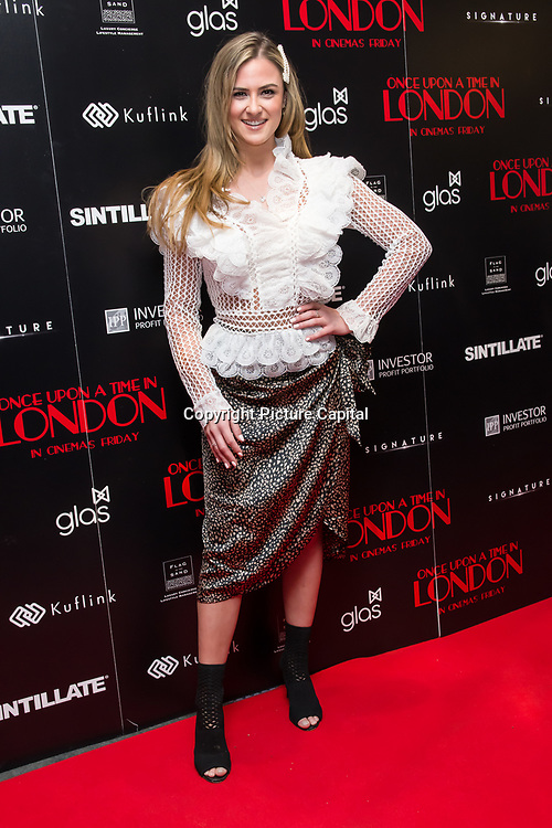 Alicia Oates Arrivers at Once Upon a Time in London - London premiere of the rise and fall of a nationwide criminal empire that paved the way for notorious London gangsters the Kray Twins and the Richardsons at The Troxy 490 Commercial Road, on 15 April 2019, London, UK.