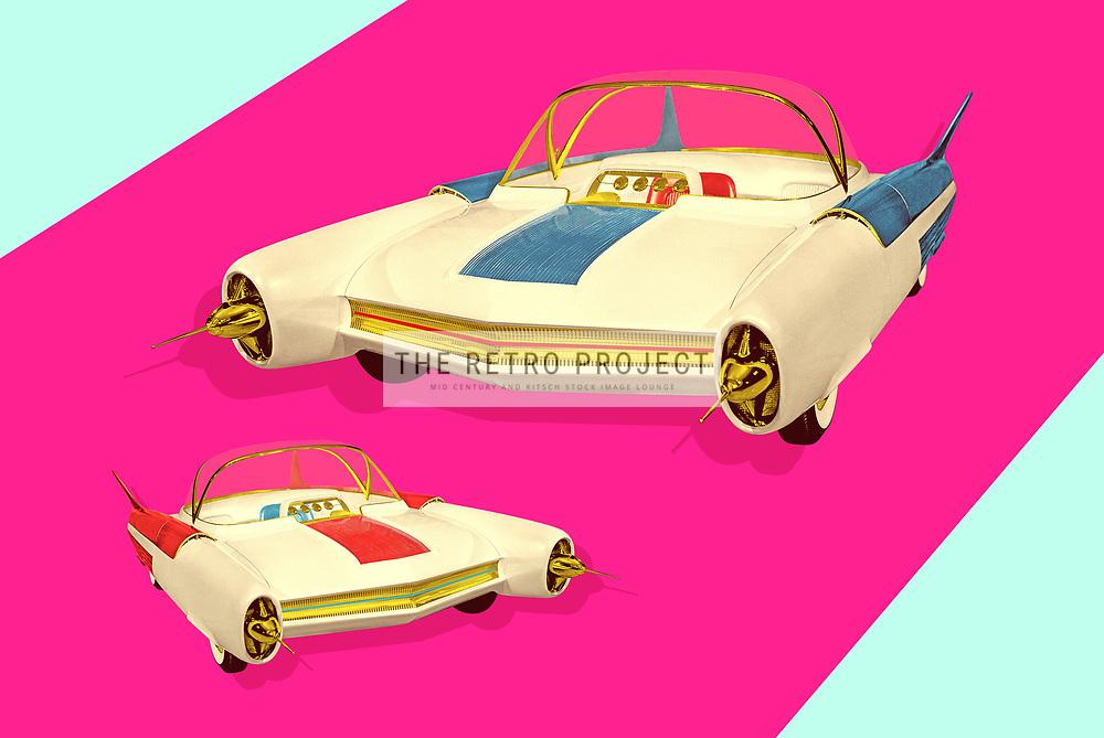 Futuristic Mid Century Concept Car Kitsch Photo illustration on light magenta background