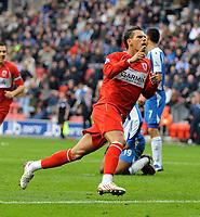 Jeremie Aliadiere Celebrates Scoring goal<br /> Middlesbrough 2008/09<br /> Wigan Athletic V Middlesbrough (0-1) 04/10/08<br /> The Premier League<br /> Photo Robin Parker Fotosports International