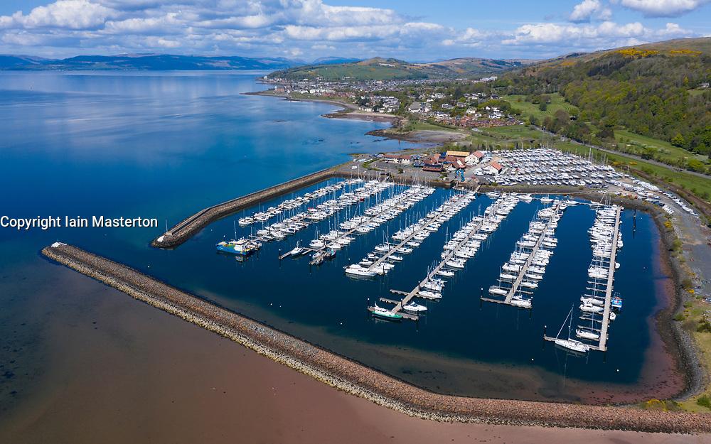 Aerial view of yacht marina at Largs Yacht Haven, North Ayrshire, Scotland, UK