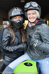 Racers Francesca Gasperi and Caro Fitus at the 1/8 mile sprint races during the Intermot International Motorcycle Fair. Cologne, Germany. Saturday October 6, 2018. Photography ©2018 Michael Lichter.