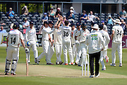 Gloucestershire Matt Taylor celebrates taking the wicket of Alviro Petersen during the LV County Championship Div 2 match between Gloucestershire County Cricket Club and Lancashire County Cricket Club at the Bristol County Ground, Bristol, United Kingdom on 7 June 2015. Photo by Alan Franklin.