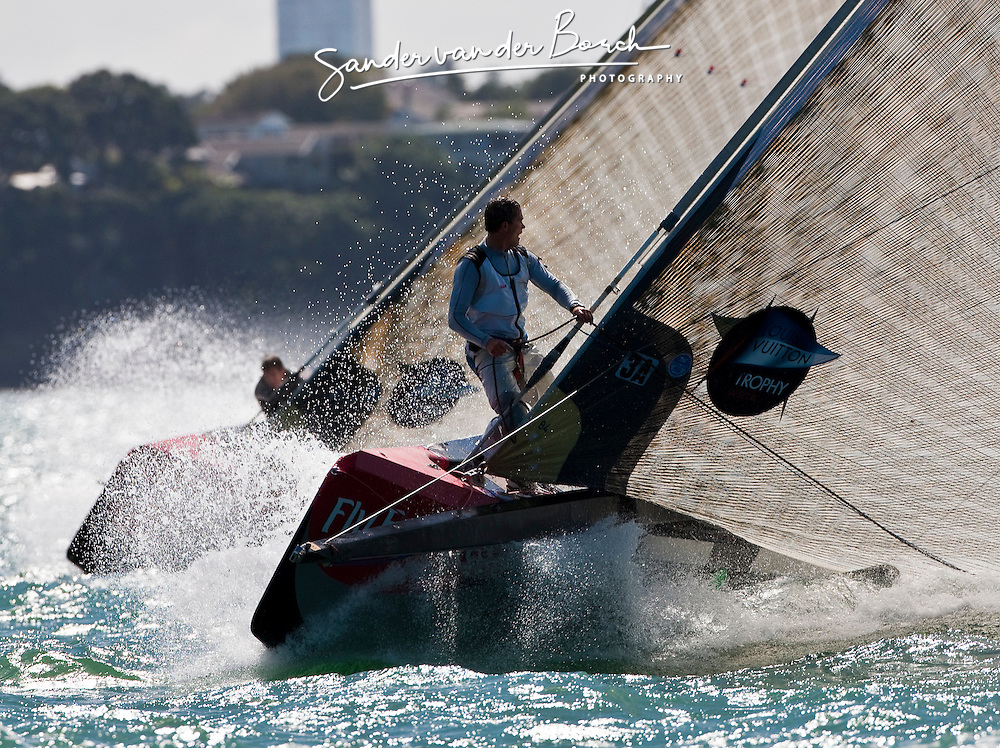 Andy Fethers on the bow before the top mark of the second beat. Artemis (SWE) races Mascalzone Latino (ITA), race day 5, Round Robin 1. Auckland, New Zealand, March 14th 2010. Louis Vuitton Trophy  Auckland (8-21 March 2010) © Sander van der Borch / Artemis