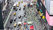 Large yoga session in Times Square in honor of the solstice, in New York City, New York on June 21, 2018.